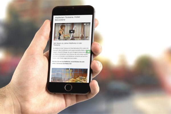 Webseite Atelier R. Keller, Mobile-Ansicht