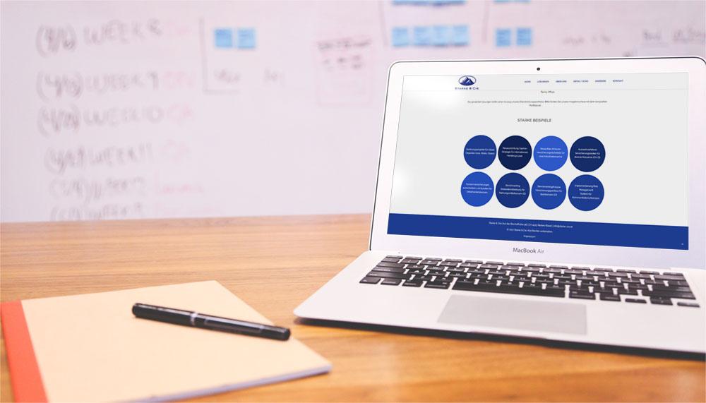 Webseite Starke & Cie, Desktop-Ansicht