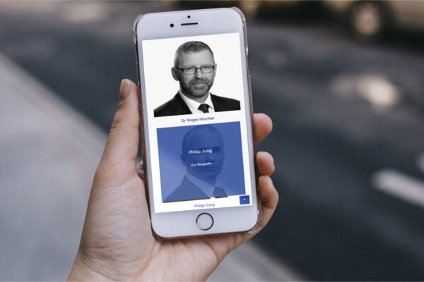 Webseite Starke & Cie, Mobile-Ansicht